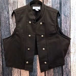 Cactus Flower Double Breasted Western Black Vest